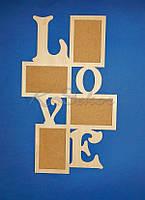 Рамка для фотографий  LOVE заготовка для декора