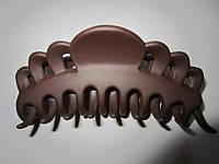 """Заколка """"краб"""" матовый (прорезиненый пластик), длина 10 см, цвет шоколадный, фото 1"""