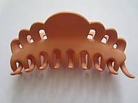 """Заколка """"краб"""" матовый (прорезиненый пластик), длина 10 см, цвет бежевый, фото 1"""