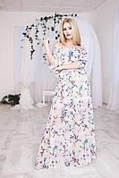 Летнее платье из шифона с принтом «Цветы»