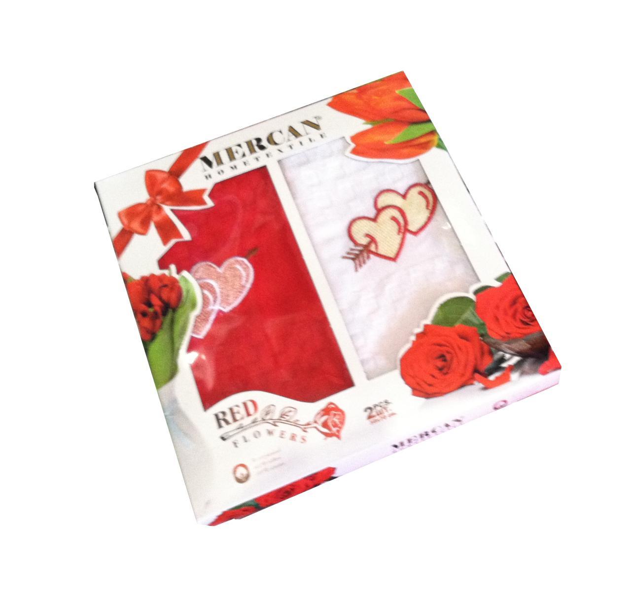 "Набор кухонных вафельных полотенец ""Mercan Red""-F 50*70 2 шт."