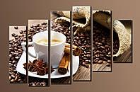"""Модульная картина на холсте из 6-ти частей """"Кофе"""""""