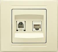 Розетка интернет+телефонная двойная кремовая Gunsan серия Moderna
