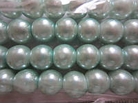 Жемчуг цвета бледно-зелёная бирюза 8 мм, нить около 160 шт., фото 1