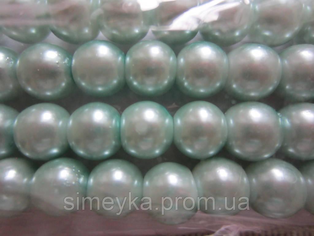 Жемчуг цвета бледно-зелёная бирюза 8 мм, нить около 160 шт.
