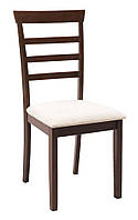Стул обеденный темно коричневый + кремовое мягкое сиденье
