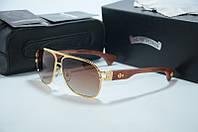 Солнцезащитные очки Chrome Hearts Briwn gold