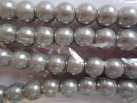 Бусы под жемчуг, бусины 8 мм керамические перламутровые, нить ок. 160 шт. Светло-серые, фото 1