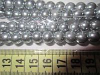 Бусы под жемчуг, бусины 8 мм керамические перламутровые, нить ок. 160 шт. Серые, фото 1