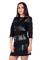 Стильное женское платье с кожаными вставками