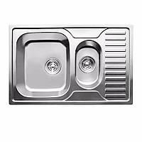 Мойка кухонная 0,8мм нержавейка с комплектом ULA-780*500 врезная (Decor-Ребристая) (HB 7301 ZS)