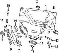 "Накладка ручки (""банан"") задней правой двери черная OPEL OMEGA-B до 1999 года 2241202 90493414 90460370 Opel 2241202"