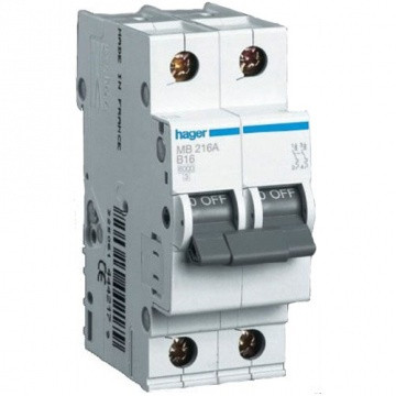 Автоматический выключатель In=16А, 2п, С, 6 kA, 2м