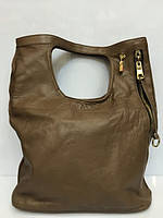 Женская кожаная сумка Vera Pelle классическая , цвет хаки 1384 Италия