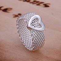 Кольцо сеточка сердечко плетение 925 серебро проба