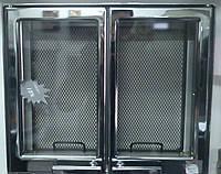9103U дверца каминная двуxстворчатая хром (445x380)