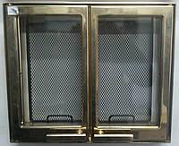 9106U дверца каминная двуxстворчатая позолота (445x380)