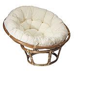 Кресло плетеное круглое (папасан) из ротанга с подушкой из ротанга (диаметр 100 см)