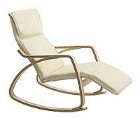 Кресло - качалка бежевая с подставкой для ног  (основа шпон березы)