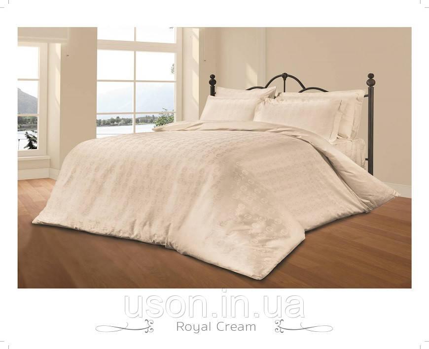 Комплект постельного белья из жаккарда le vele евро royal-cream