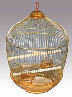 Клетка золотая круглая для средних попугаев, d48х68 см