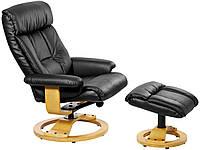 Кресло массажное черное, кожа + подставка для ног