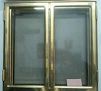 Дверца каминная двуxстворчатая с круглыми ручками позолота (475x475)