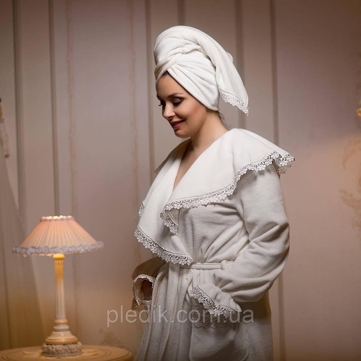 Махровый халат женский с рюшами IZOLDA кремовый XL. Все размеры.