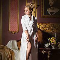 Длинный махровый халат BALLADONNA белый р. S. Все размеры.