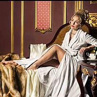 Длинный махровый халат BALLADONNA белый р. L. Все размеры.