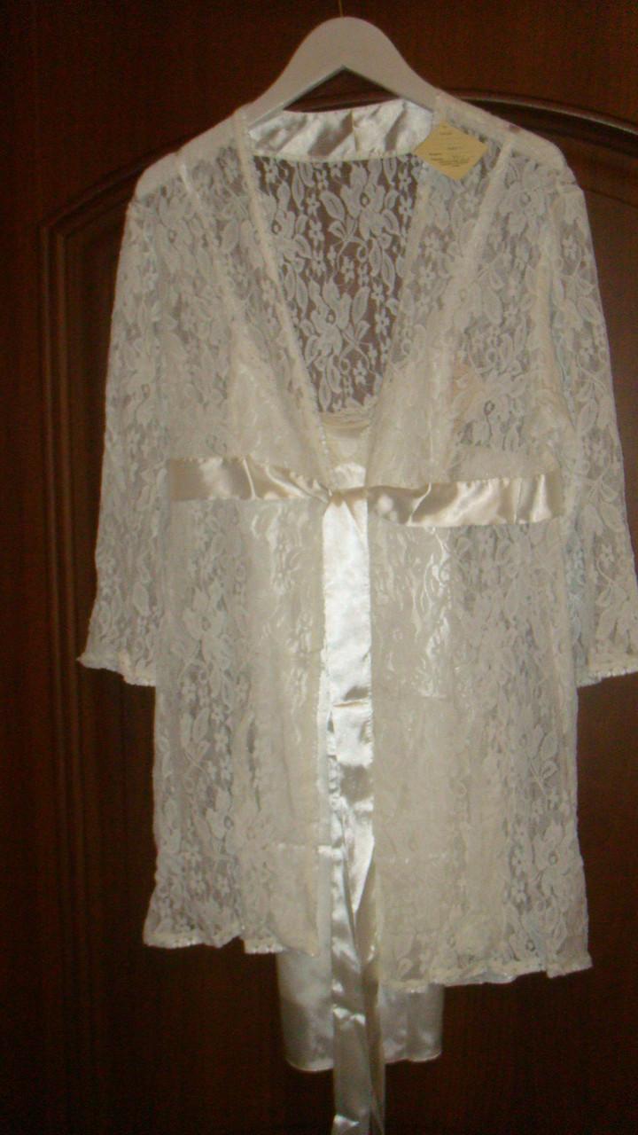 Комбинация отличного качества халат+сорочка Scarlett белый цвет