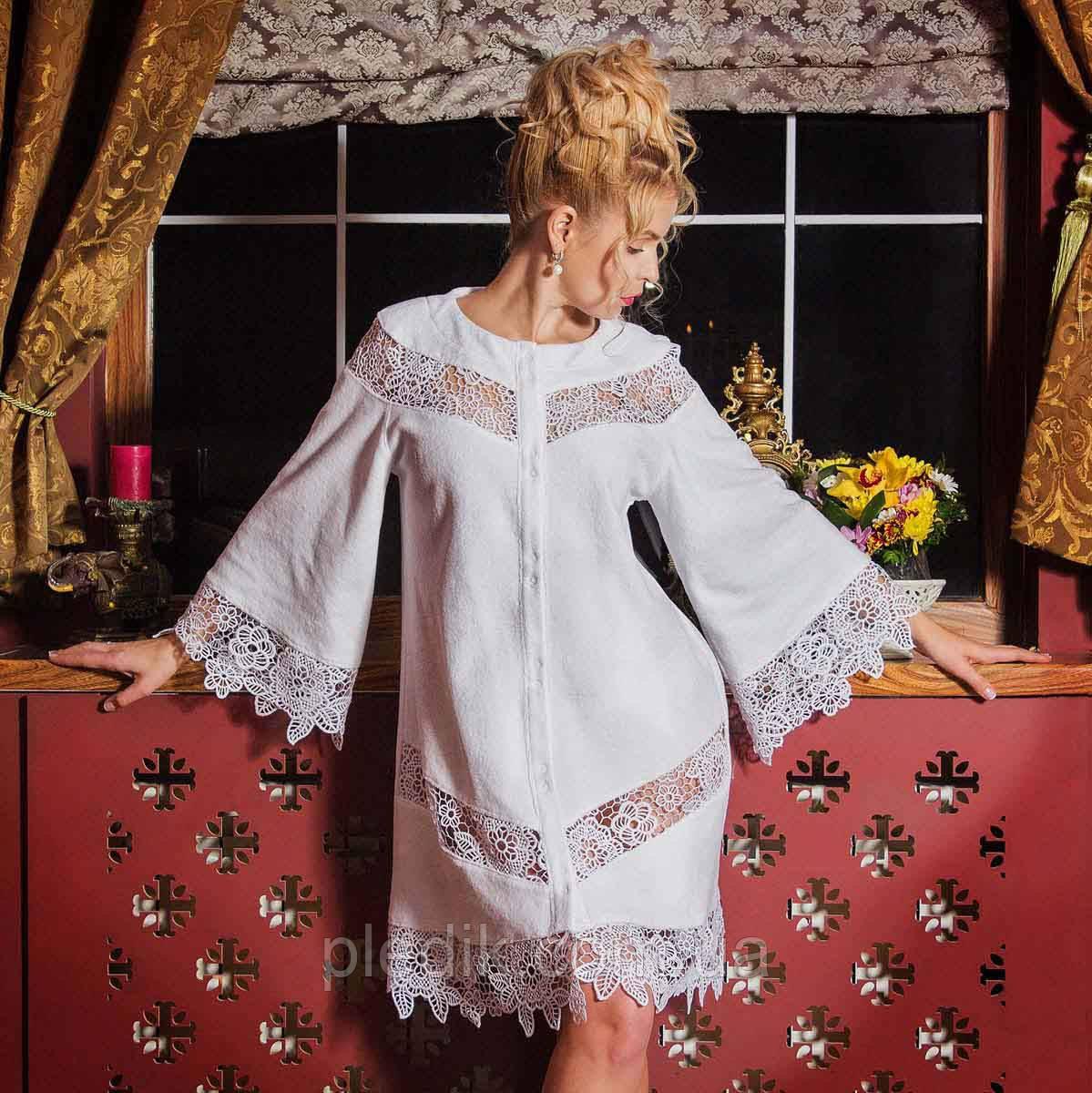 Махровый халат с кружевами GLORIA белый, кремовый L. Все размеры.