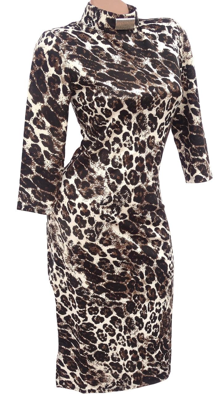 Облегающее леопардовое платье-миди (42)