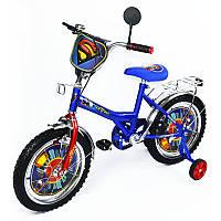 Велосипед Супермен 16 дюймов BT-CB-0008 синий с красным, система - One piece crank