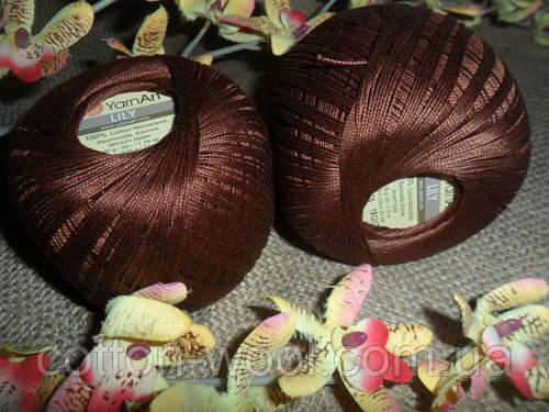 YarnArt Lily  (Ярнарт Лили) 100% мерсеризованный хлопок 0005  коричневый