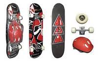 Скейтборд со шлемом KEPAI SK-2283 (колесо-PU, р-р деки 79х20х1см, АВЕС-5)