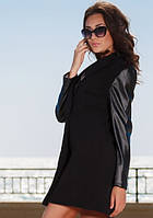 Пальто черное кашемировое с кожаными рукавами. Арт-1954