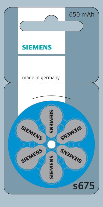 Батарейки для слухового аппарата № 675 (Siemens)