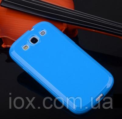 Силиконовый глянцевый голубой чехол Samsung Galaxy S3/S3 duos