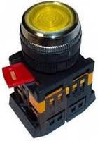 Кнопка ABLF-22 желтый d22мм неон/240В 1з+1р ИЭК