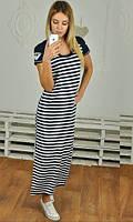 Свободное длинное женское платье в полоску рукав короткий вискоза