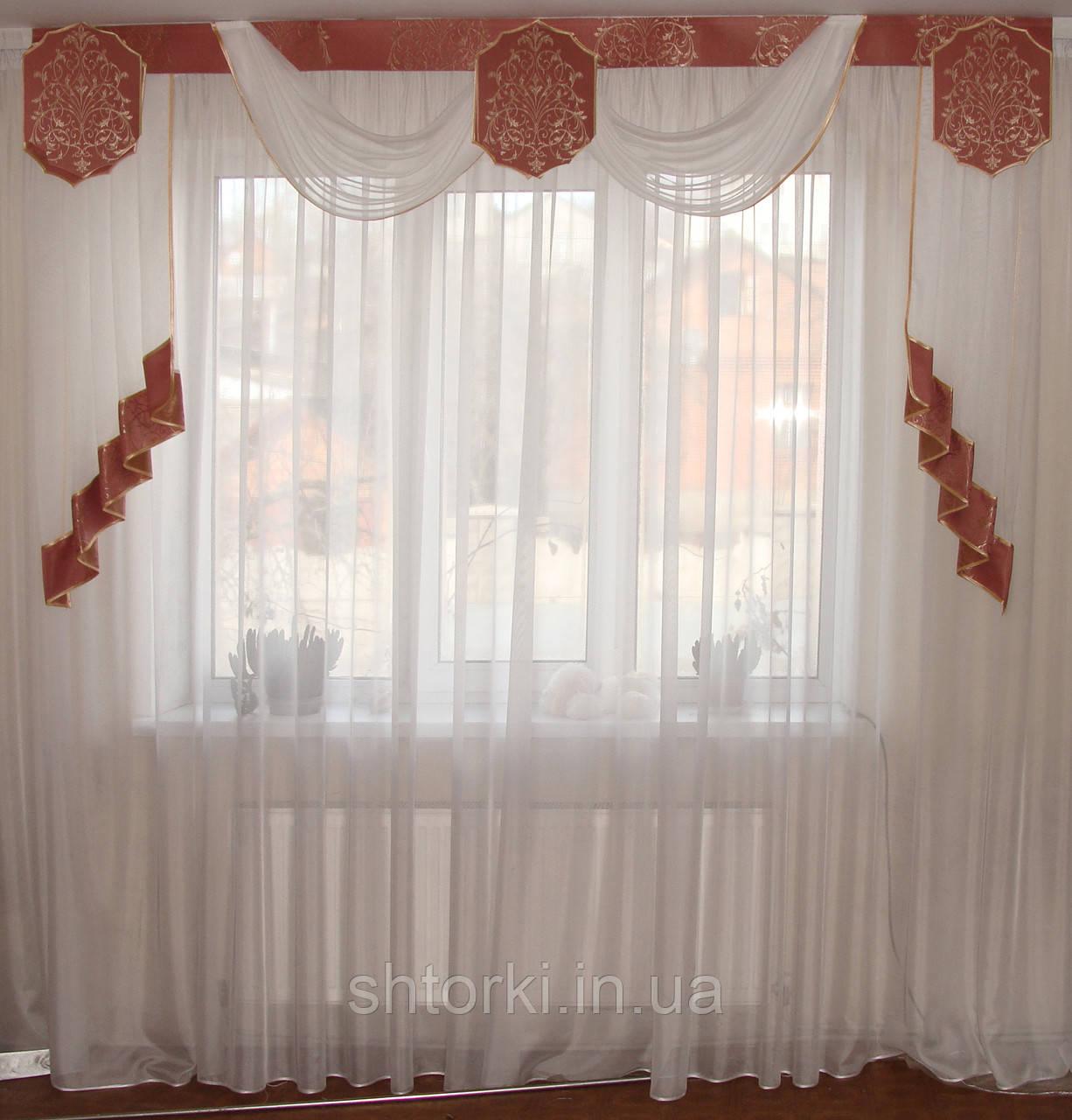 Жесткий ламбрекен Корона розовая, 2,5м