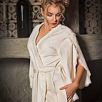 Махровый халат с кружевами ROSETTA кремовый M. Все размеры.