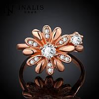 Кольцо цветы фианиты покрытие золотом 18К