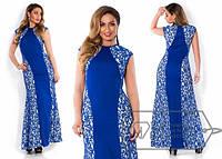 Вечернее платье большого размера в пол с гипюром (3 цвета) g-1515281