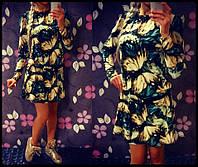 """Платье женское теплый трикотаж длинный рукав """"Бабочки"""""""