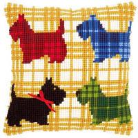 """Набор для вышивания подушек """"Разноцветные собачки с бантиком"""""""