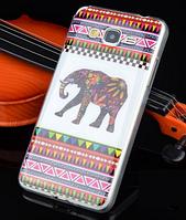 """Силиконовый чехол """"Разноцветный слон"""" для Samsung Galaxy A3"""