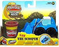 """Игровой набор пластилина Hasbro """"Машинка для строительства дорог"""" синяя Play-Doh"""