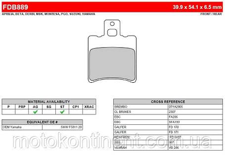 FDB889AG Тормозные колодки Ferodo для мотоцикла SUZUKI, YAMAHA, MBK  40x55x3,5mm, фото 2